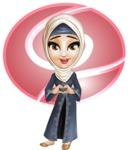 Modern Muslim Woman Cartoon Vector Character - Shape 2