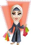 Modern Muslim Woman Cartoon Vector Character - Shape 6