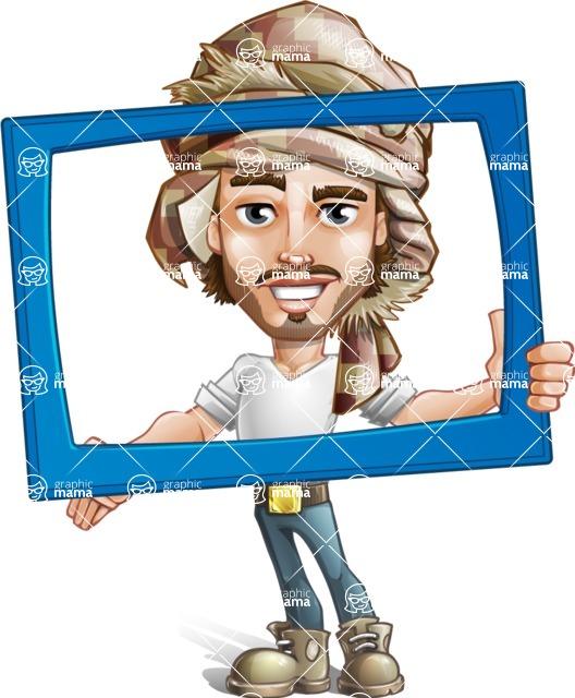 Desert Man Cartoon Vector Character AKA Sabih - Frame
