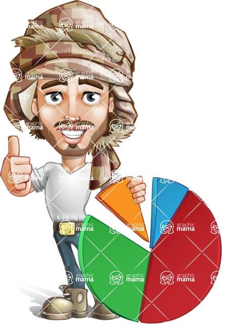 Desert Man Cartoon Vector Character AKA Sabih - Chart