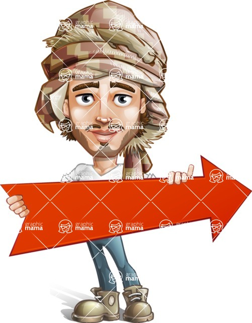 Desert Man Cartoon Vector Character AKA Sabih - Arrow 2