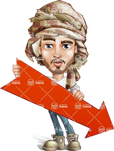 Desert Man Cartoon Vector Character AKA Sabih - Arrow 3