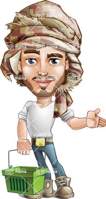 Desert Man Cartoon Vector Character AKA Sabih - Basket