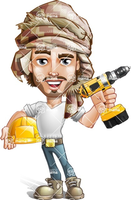 Desert Man Cartoon Vector Character AKA Sabih - Under Construction