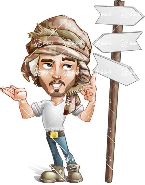 Desert Man Cartoon Vector Character AKA Sabih - Crossword