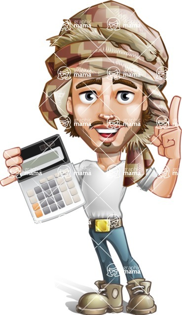 Desert Man Cartoon Vector Character AKA Sabih - Calculator