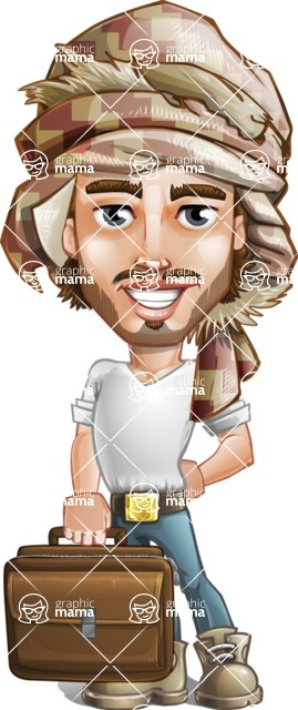 Desert Man Cartoon Vector Character AKA Sabih - Briefcase