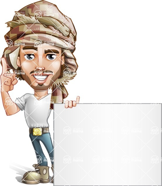 Desert Man Cartoon Vector Character AKA Sabih - Sign 6
