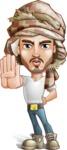 Desert Man Cartoon Vector Character AKA Sabih - Stop