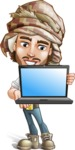 Desert Man Cartoon Vector Character AKA Sabih - Laptop 1