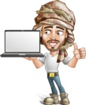 Desert Man Cartoon Vector Character AKA Sabih - Laptop 2