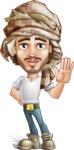 Desert Man Cartoon Vector Character AKA Sabih - Wave