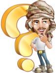 Desert Man Cartoon Vector Character AKA Sabih - Question
