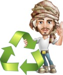Desert Man Cartoon Vector Character AKA Sabih - Recycling