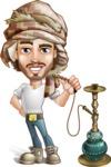 Desert Man Cartoon Vector Character AKA Sabih - Hookah