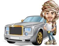 Desert Man Cartoon Vector Character AKA Sabih - Car