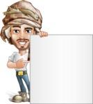 Desert Man Cartoon Vector Character AKA Sabih - Sign 7