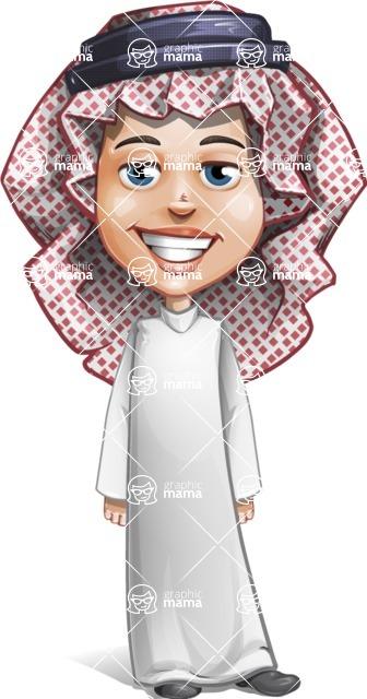 Cute Muslim Kid Cartoon Vector Character AKA Ayman - Normal