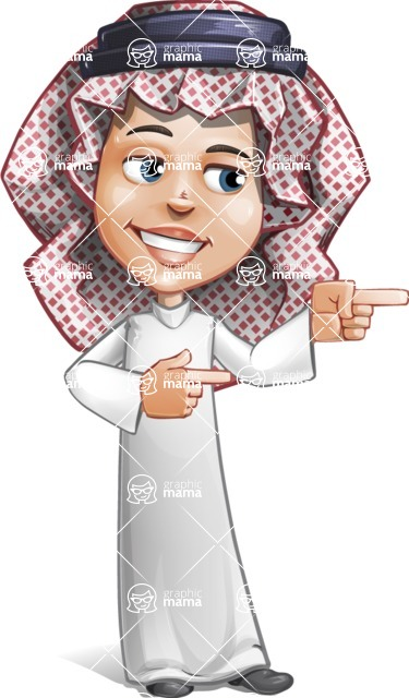 Cute Muslim Kid Cartoon Vector Character AKA Ayman - Point 2