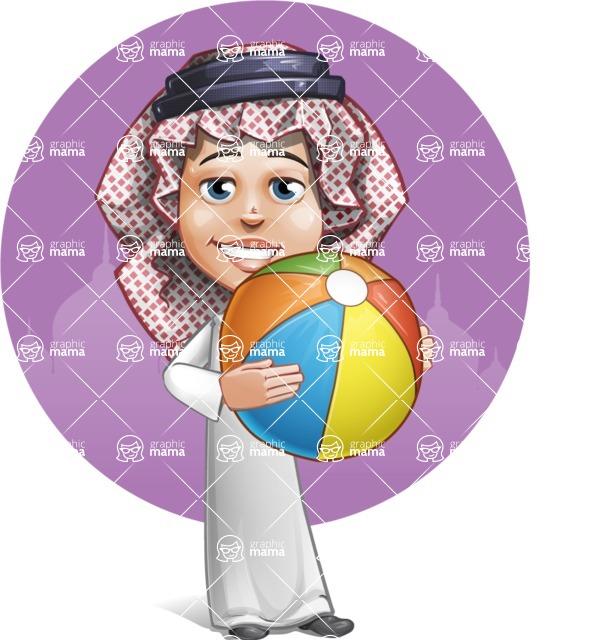 Cute Muslim Kid Cartoon Vector Character AKA Ayman - Shape 11
