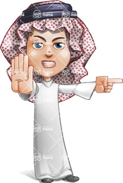 Cute Muslim Kid Cartoon Vector Character AKA Ayman - Direct Attention