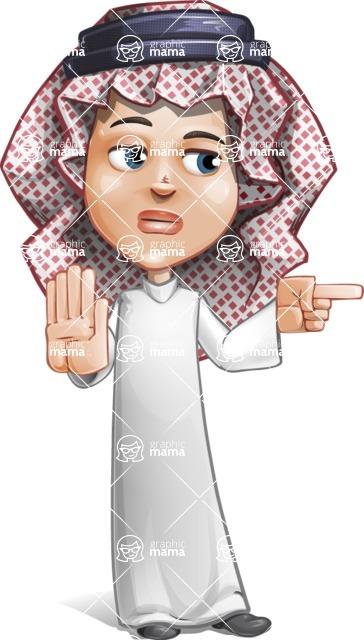 Cute Muslim Kid Cartoon Vector Character AKA Ayman - Direct Attention 2