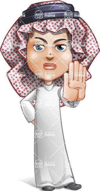 Cute Muslim Kid Cartoon Vector Character AKA Ayman - Stop