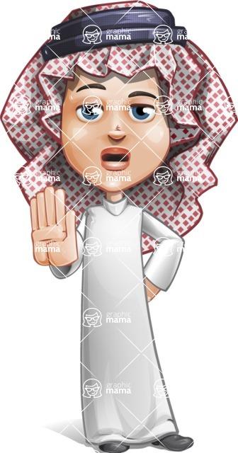 Cute Muslim Kid Cartoon Vector Character AKA Ayman - Stop 2