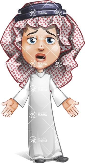 Cute Muslim Kid Cartoon Vector Character AKA Ayman - Stunned