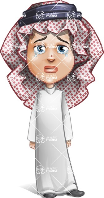 Cute Muslim Kid Cartoon Vector Character AKA Ayman - Sad