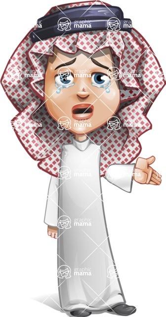Cute Muslim Kid Cartoon Vector Character AKA Ayman - Sad 2