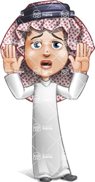Cute Muslim Kid Cartoon Vector Character AKA Ayman - Shocked