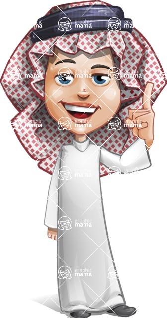 Cute Muslim Kid Cartoon Vector Character AKA Ayman - Attention