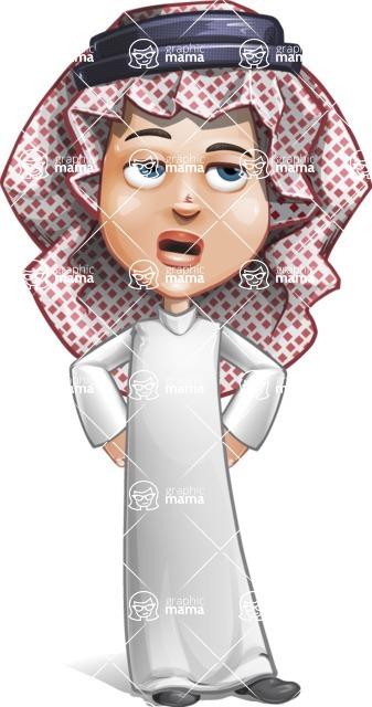 Cute Muslim Kid Cartoon Vector Character AKA Ayman - Roll Eyes