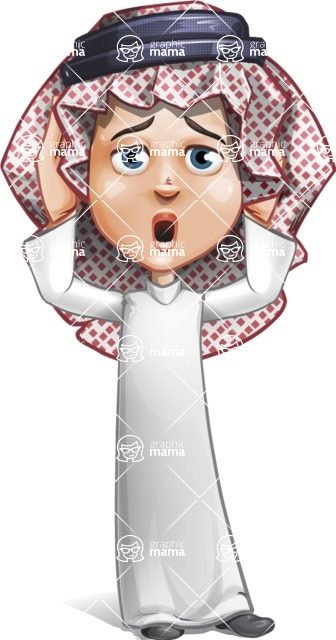 Cute Muslim Kid Cartoon Vector Character AKA Ayman - Confused