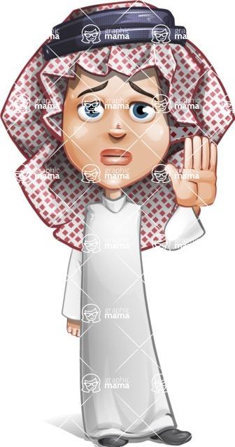 Cute Muslim Kid Cartoon Vector Character AKA Ayman - Good Bye