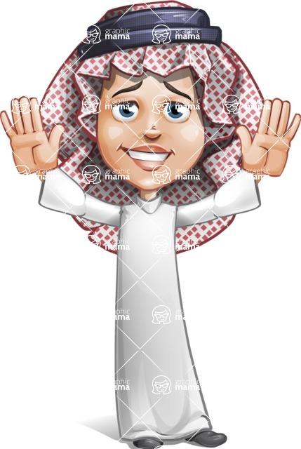 Cute Muslim Kid Cartoon Vector Character AKA Ayman - Hello