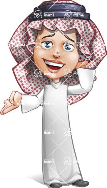 Cute Muslim Kid Cartoon Vector Character AKA Ayman - Oops