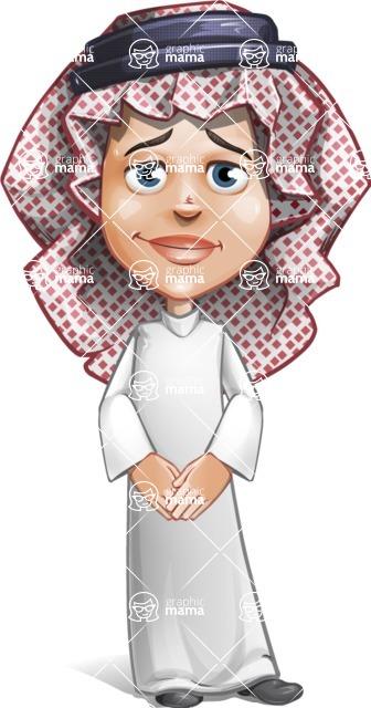 Cute Muslim Kid Cartoon Vector Character AKA Ayman - Patient