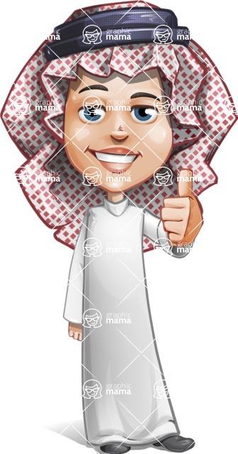 Cute Muslim Kid Cartoon Vector Character AKA Ayman - Thumbs Up