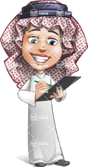 Cute Muslim Kid Cartoon Vector Character AKA Ayman - Note
