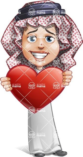 Cute Muslim Kid Cartoon Vector Character AKA Ayman - Love