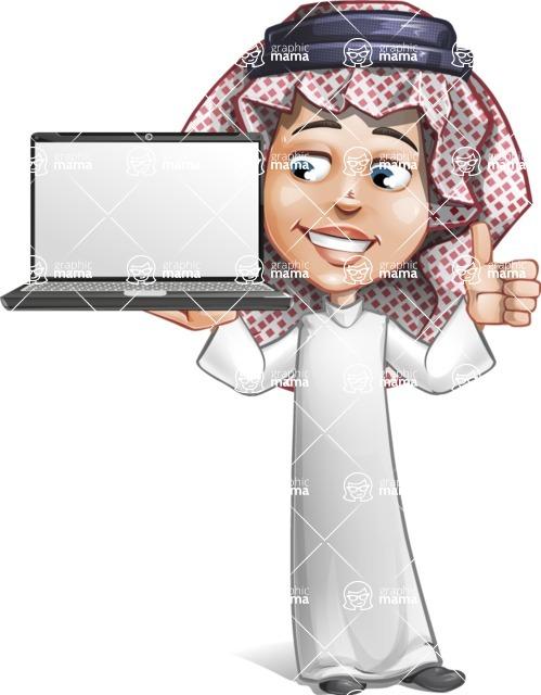 Cute Muslim Kid Cartoon Vector Character AKA Ayman - Laptop 2