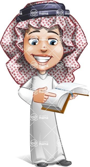 Cute Muslim Kid Cartoon Vector Character AKA Ayman - Book 1