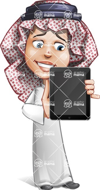 Cute Muslim Kid Cartoon Vector Character AKA Ayman - iPad 1