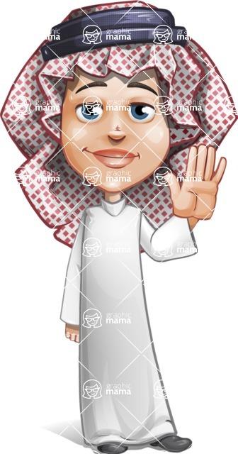 Cute Muslim Kid Cartoon Vector Character AKA Ayman - Wave