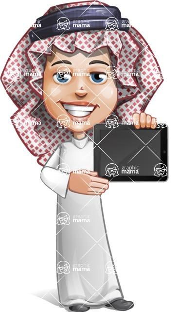 Cute Muslim Kid Cartoon Vector Character AKA Ayman - iPad 2