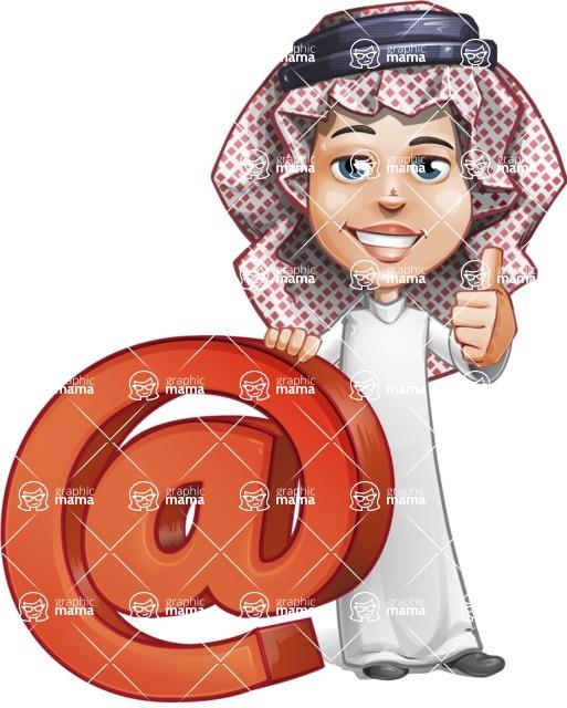 Cute Muslim Kid Cartoon Vector Character AKA Ayman - Web