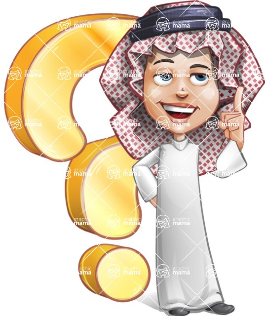 Cute Muslim Kid Cartoon Vector Character AKA Ayman - Question