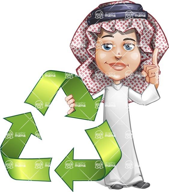 Cute Muslim Kid Cartoon Vector Character AKA Ayman - Recicling